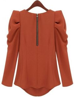 SheIn offers Orange Long Sleeve Alice Shoulder Zipper Blouse & more to fit your fashionable needs. Muslim Fashion, Modest Fashion, Hijab Fashion, Fashion Outfits, Blouse Patterns, Blouse Designs, Cute Sweatshirts For Girls, Hijab Style, Muslim Girls