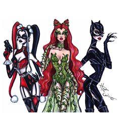 'Gotham City Sirens' by Hayden Williams Fashion Design Drawings, Fashion Sketches, Art Sketches, Dress Sketches, Fashion Sketchbook, Desenhos Halloween, Arte Fashion, Es Der Clown, Univers Dc
