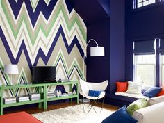 zig zag accent wall benjamin moore Colours to be green, teal, a bit of blue and white.