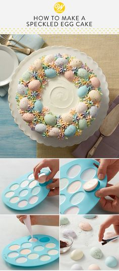 Soft pastel colors make this springtime cake just as beautiful as it is delicious. Simple and classic, this lovely spring cake is sure to be the crowning touch to your Easter brunch. Easter Egg Cake, Easter Cupcakes, Baking Cupcakes, Cupcake Cakes, Brunch Party Decorations, Brunch Decor, Brunch Food, Party Desserts, Desserts Ostern