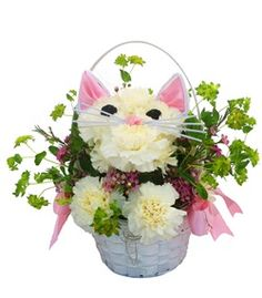 Kitten flowers in a basket - Purr-fect Day by Cactus Flower  $54.99