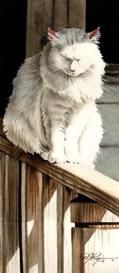 Impression d'Art chat blanc « Sieste de chat » signé par l'artiste DJ Rogers