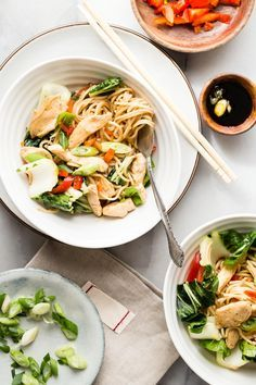 Chicken Chow Mein noodles with bok choy and a light soy and sesame oil sauce