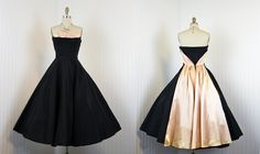 RESERVED 1950s Dress - Vintage 50s French Dress - Couture Black Nude Pink Silk Taffeta Party Dress S - Bon Soir - The French Collection. $428.00, via Etsy.