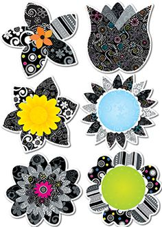 "Get your classroom ready for spring with CTP's NEW BW Flowers 6"" Designer Cut-Outs!"