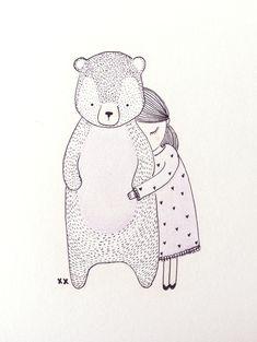kids illustration bear & little girl