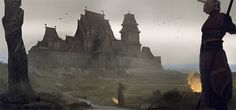One of the northern strongholds of Aeire, maybe the Port of Last Hope, or Kade's Harbour. Dark Fantasy Art, Fantasy City, Fantasy Castle, Fantasy Places, Medieval Fantasy, Fantasy World, Games Design, Valhalla, Rpg World