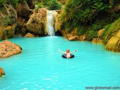 Globemad Emma beautiful blue Dee Doke waterfalls near Pyin Oo Lwin and Mandalay Myanmar Burma