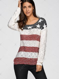 Star Stripe Jacquard Knit Sweater - OFF WHITE S
