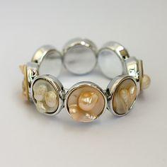 Mother of Pearl Bracelet on Elastic - Jewellery by GemsBcoLtd