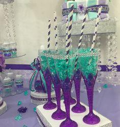 Mermaid Diaper Cake Baby Shower Decor Centerpiece Present Purple