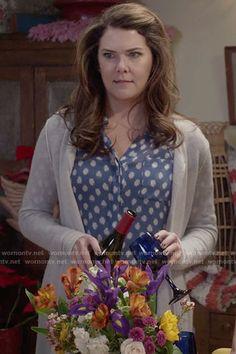 Lorelai's blue polka dot top on Gilmore Girls.  Outfit Details: https://wornontv.net/62600/ #GilmoreGirls:AYearintheLife
