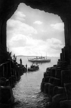 Old photograph of Fingals Cave, Staffa, Scotland