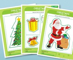 Super excited about Christmas? Let the kids   get holiday ready (and practice their cutting skills) with these Christmas Cutting Pages!