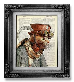 STEAMPUNK ART PRINT Steampunk Cat Decor Steampunk by GoGoBookart