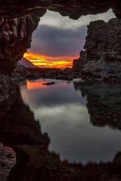 Charco Azul at Sunset, canary islands, by Pedro López Batista, on 500px.(Trimming)