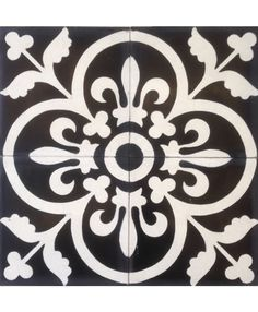 Our Madrid Cement tile in White on Black. http://www.terrazzo-tiles.co.uk/madrid-white-on-black-encaustic-cement-tile.html