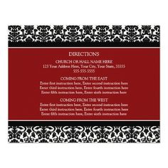 Wedding Direction Cards Red Black Damask Personalized Announcements