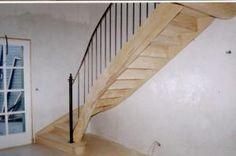 Escalier en bois frêne  avec rampe fer