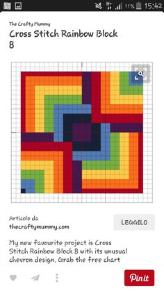 Punto De Cruz Cross Stitch Rainbow Block 8 - The Crafty Mummy - My new favourite project is Cross Stitch Rainbow Block 8 with its unusual chevron design. Grab the free chart to stitch your own. Cross Stitch Charts, Cross Stitch Designs, Cross Stitch Patterns, Cross Stitch Geometric, Geometric Art, Biscornu Cross Stitch, Cross Stitching, Cross Stitch Embroidery, Embroidery Patterns