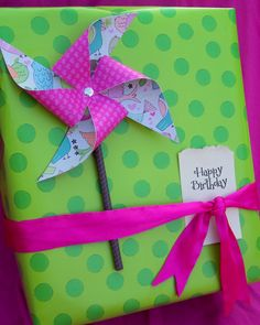 Lovely site full of gift wrapping ideas. I think this pinwheel looks fun, and instructions for making it are on the site.
