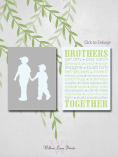 Brothers wall art, boys bedroom wall art, big brother little brother bedroom decor, boys bedroom prints, boys wall art on Etsy, $20.00