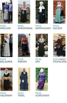 Historic Dutch folk dress divided by region. #greetingsfromnl