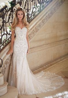 Crystallized Allover Embroidery on Soft Tulle Wedding Dress Designed by Madeline Gardner. Colors Available: White/Silver, Ivory/Silver, Light Gold/Silver