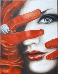 Red Gloves  an original oil painting by Stacy by 2DragonLadies, $150.00