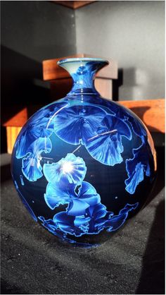 dark blue crystalline glaze ceramic vase