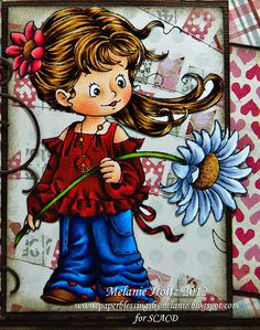 "Paper Blessings blog - Stamp is from Susana's Custom Art & Card Design ""Give Peace A Chance""  Copics used are - Skin: E000, E00, E11, R02  Hair: E50, E31, E33, E37, E59  Jeans: BG0000, B32, B34, B37, B39, BV29, C5  Blouse: ShinHan Markers R11, R13 and BR94 Hair flower: R30, R32, R35, R37, R89  Large Flower: BV31, BV23, C00, C3, C5, colourless blender  Flower Centres: E50, Y21, Y26, E13, E17, E18 Stem: YG00, YG03, G85, G99"