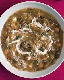 Roasted eggplants and chickpeas bring lots of texture and flavor to this hearty soup. For a vegetarian version, use water instead of chicken broth.