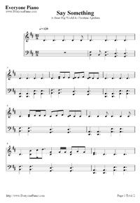 FREE Printable Piano SHeet Music Say Something-A Great Big World Stave Preview 1