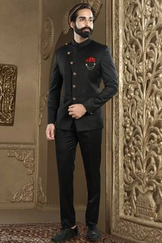 Solid Color Terry Rayon Jodhpuri Suit in Navy Blue : - Wedding Colors Indian Wedding Suits Men, Wedding Men, Wedding Dress For Boys, Marriage Dress For Men, Reception Suits, Indian Men Fashion, Mens Fashion, Groom Wear, Groom Dress