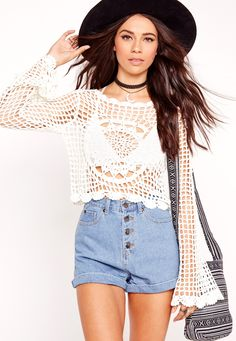 Missguided - Long Sleeve Crochet Top White