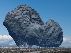 This is a very tiny comet. In fact this is Rosetta's Comet and we recently landed a probe on it as it flew through space. This is what Rosetta's Comet looks like when compared to the city of Los Angeles, California. Cosmos, Visualisation, Space And Astronomy, Our Solar System, To Infinity And Beyond, Space Exploration, Science And Nature, Ciel, Night Skies