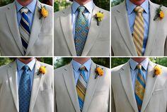 Groomsmen colorful (blue/yellow) ties