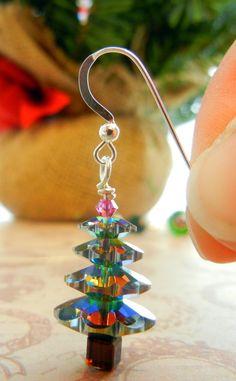 Twelve Days of Christmas Jewelry Designs: 1 – Swarovski Crystal Tree Earrings - DIY from Rings & things