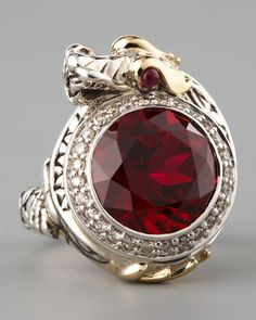 "John Hardy - Ruby Dragon Ring, Small - Naga means ""dragon"" in Balinese and is a symbol of health and prosperity.  •Sterling silver with 18-karat yellow gold accents.   •Naga dragon wrapped around face features African ruby eyes.  •Round-cut ruby center with pave diamond trim.  •0.40 total diamond carat weight.  •Face, approx. 1""L x 3/4""W.  •Slim band.  •Handcrafted in Bali."