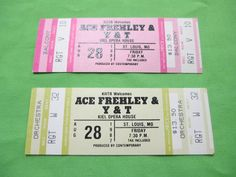 ACE FREHLEY from KISS Vintage Unused 2 Ticket by BeansterGoods