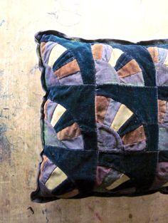 Antique Velvet Quilt Pattern Pillow by RushCreekVintage on Etsy