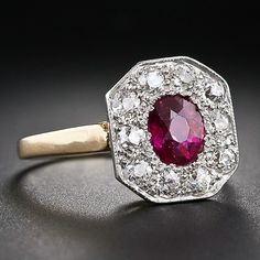 Edwardian Ruby and Diamond Ring - 30-1-5394 - Lang Antiques