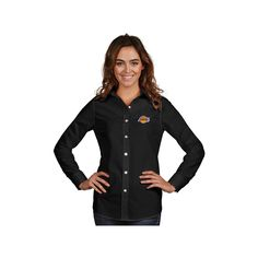 Women's Antigua Los Angeles Lakers Dynasty Button-Down Shirt, Size: Medium, Black