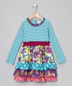 Take a look at this Rare Editions Turquoise & Fuchsia Floral Tiered Dress - Girls on zulily today!