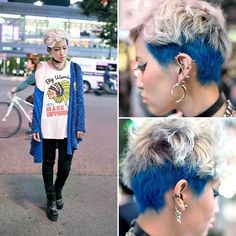 Marimo is a girl who we often see around the streets of Harajuku. This time, when we met her in Shibuya, she had a blue shaved hairstyle and lots of piercings along with fashion from C-Closet Park, EMODA, UNIF & Spinns (スピンズ).