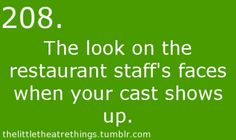 , the staff despised us cuz we sang the soundtrack at the top of our lungs and then all of us had no voice for the next show😂whoops Act Theatre, Theatre Jokes, Little Theatre, Theatre Problems, Theatre Nerds, Music Theater, Theater Quotes, Theatre Group, Broadway Theatre
