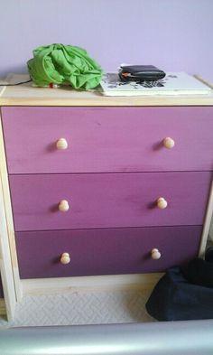 Homemade ombre drawers, ikea rast drawers.