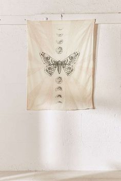 Slide View: 2: Moth Moon Embroidered Tapestry