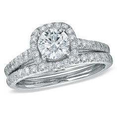 1-3/4 CT. T.W. Diamond Halo Bridal Set in 14K White Gold