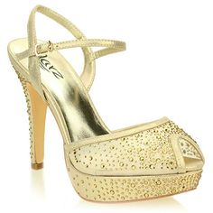 a75436a888 AARZ LONDON Women Ladies Evening Wedding Party High Heel Platform Diamante  Bridal Gold Sandals Shoes Size 5 L3268